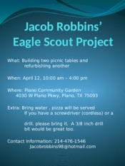Eagle Scout Project flyer
