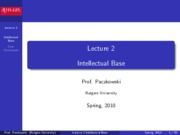Lecture 2 - Intellectual Base
