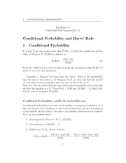 Lecture 4 - Conditional Probability & Bayes' Rule