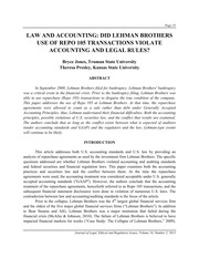 DID LEHMAN BROTHERS USE OF REPO 105 TRANSACTIONS VIOLATE ACCOUNTING AND LEGAL RULES
