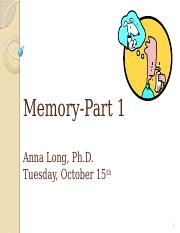 Chapter 6 - Memory-Part 1