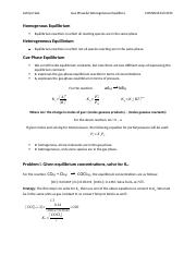 Review Sheet 4 Gas Phase and Heterogeneous Equilibria