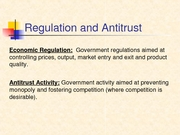 Regulation and Antitrust