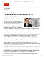 The euro area's uninspiring recovery   The Economist