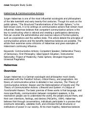 Habermas & Communicative Actions Research Paper Starter - eNotes