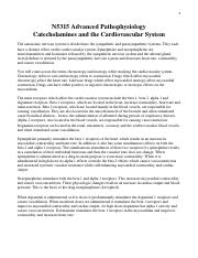 NURS 5315 Catecholamies and the CV system