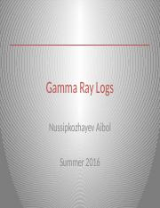 Gamma Ray Logs - WL and FE SUMMER KBTU 2016