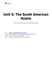 Unit 5-The South American Realm