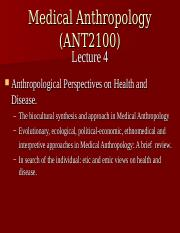 Abridged Lecture 4 Anthropological Perspectives on Health and Disease