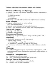 Anatomy- Study Guide- Introduction to Anatomy and Physiology