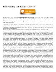 Calorimetry Lab Gizmo Answers.pdf - Calorimetry Lab Gizmo ...