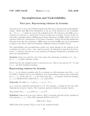 Incompleteness and Undecidability Part I Lecture notes