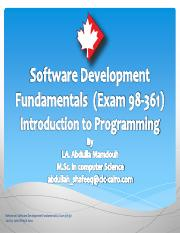 MTA Software Development Fundamentals, Exam 98-361 - Introduction to Programming