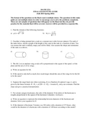 Math 122a Final Exam Study Guide