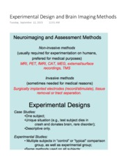 Experimental Design and Brain Imaging Methods