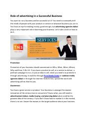 Role of advertising in a Successful Business
