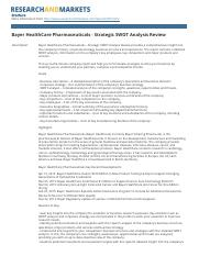bayer_healthcare_pharmaceuticals_strategic_swot