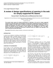 A Review of Design Specifications of Opening in the Web For Simply Supported RC Beams