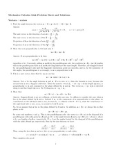 Vector Homework Solution on Calculus and Mechanics