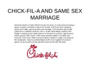 CHICK-FIL-A AND SAME SEX MARRIAGE