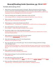 Beowulf Questions (pp. 50-61) Fall 2013 KEY