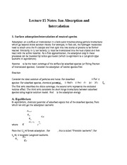 Lecture 15 Notes Ion Absorption