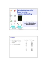 Chap 4b Sample Comparative Experiments - Hypothesi testing SV