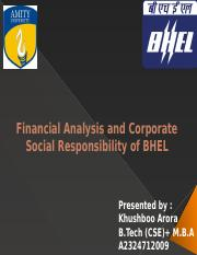 Financial Analysis and Corporate Social Responsibility of BHEL
