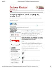 Monetising land bank to prop up textile firms _ Business Standard News