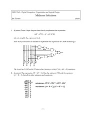 Midterm Exam Solution Spring 2004 on Introduction to Digital Logic and Computer Design