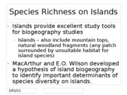 Species Richness on Islands