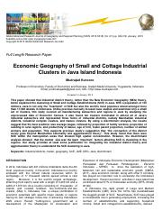 Kuncoro-ec geography of SCE clusters in Java-GARJGRP-jan 2013