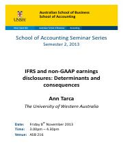 A. Tarca - IFRS and non‐GAAP earnings disclosures - determinants and consequences