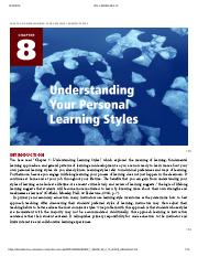 Creating Academic and Career Success - CHAPTER 8_ UNDERSTANDING YOUR PERSONAL LEARNING STYLES.pdf
