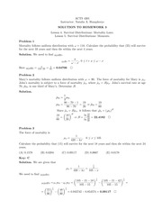 Homework 3 Solution on Principles of Actuarial Models Life Contingencies