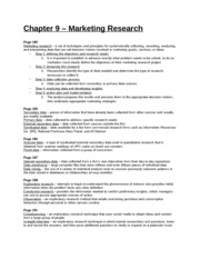 Study Guide - Chapter 9 - Marketing Research