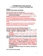 Evolution of Psychology Notes - Chapter 1 The Evolution of