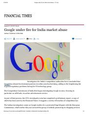 Google under fire for India market abuse - FT