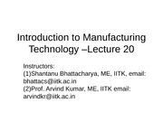 Manufacturing Processes (ME361) Lecture 20