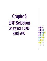 Chapter 5 - ERP Selection