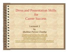 Lecture # 3 Organizational Culture and Dressing