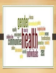 GENDER, HEALTH AND DISEASE