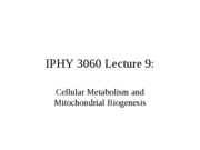 Lecture 9 Cellular Metabolism and Mitochondrial Biogenesis