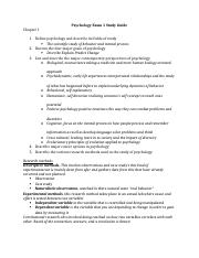 Psychology Exam 1 Study Guide