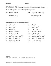 Printables Factoring By Grouping Worksheet gcf and grouping ws algebra ii name worksheet 1 factoring polynomials