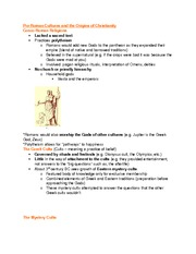 Pre-Roman Cultures + Origins of Christianity notes