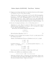 Final Exam Solutions on Modern Algebra