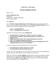 scholarship application letter of intent