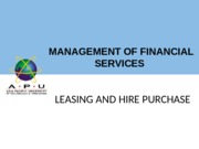 Lecture 2A - Leasing and Hire Purchase