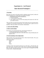 Lab 1A Protocol - Bacterial Tech I f15